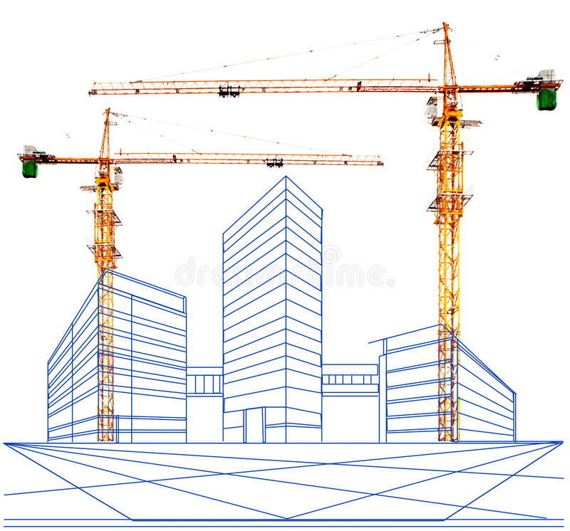 Free Crane And Two Point Perspective Of Building In Construction Stock Photo - 33018780