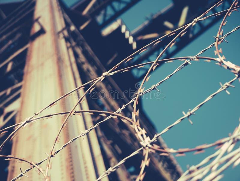 Crane With Barb Wire industrial imagen de archivo