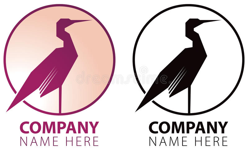 Crane Bird Logo royaltyfri illustrationer