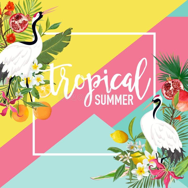 Crane Bird tropical, limón, frutas de la granada, florece la bandera del verano, fondo gráfico, invitación floral exótica stock de ilustración