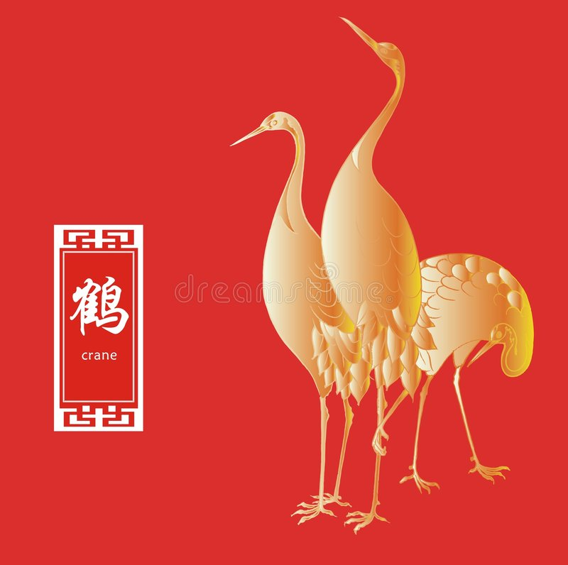 Crane Birds. On red background vector illustration