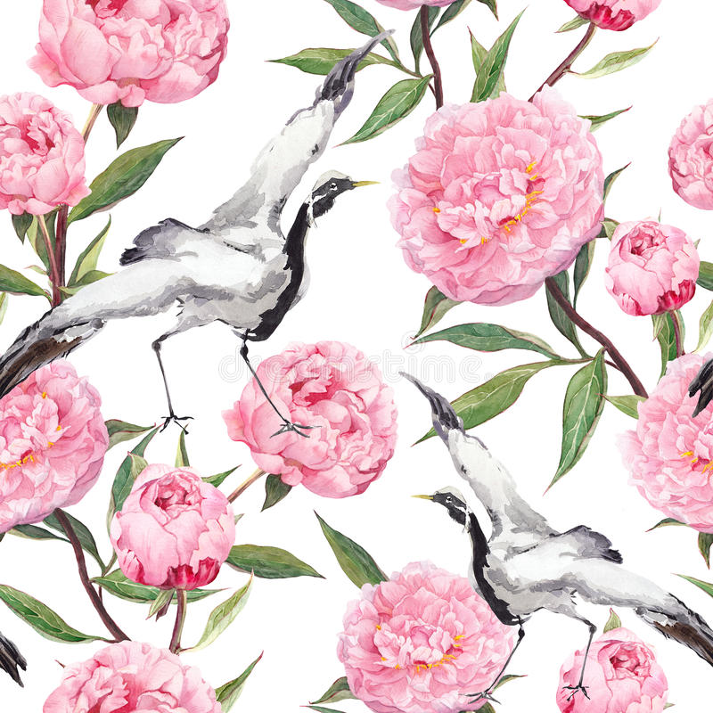 Crane birds dance, peony flowers. Floral repeating asian pattern. Watercolor stock illustration