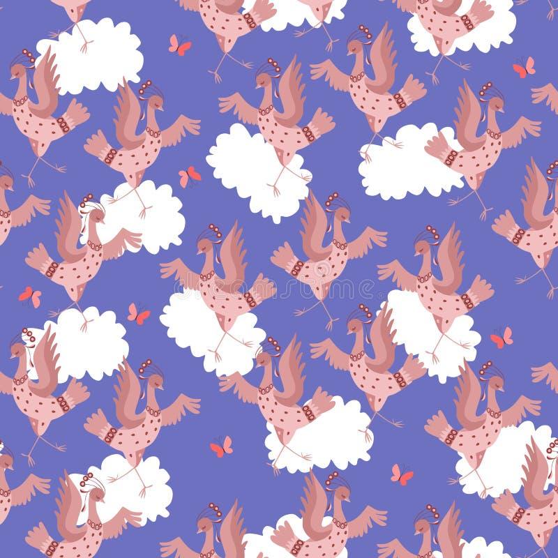 Crane birds dance. Seamless animal print with dancing birds, butterflies and clouds. stock illustration