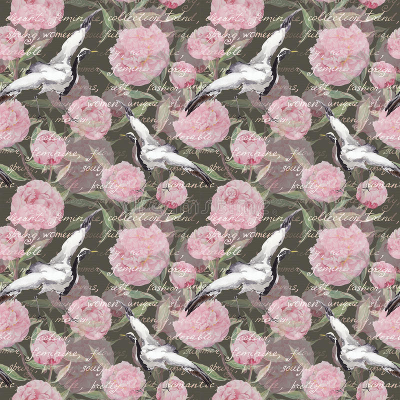 Crane birds, flowers, hand written text. Floral seamless pattern. Watercolor. Crane birds with pink peony flowers and hand written text. Floral seamless pattern royalty free illustration