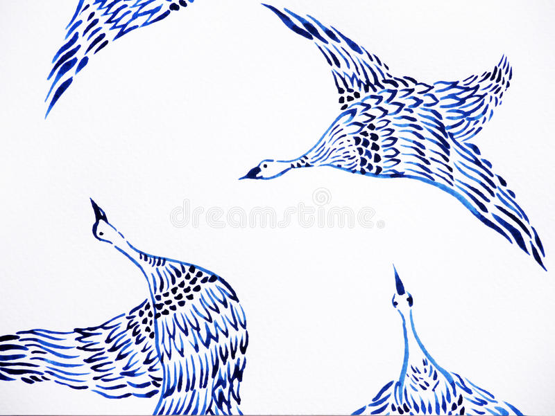 Crane birds flying watercolor painting hand drawn japanese style stock illustration