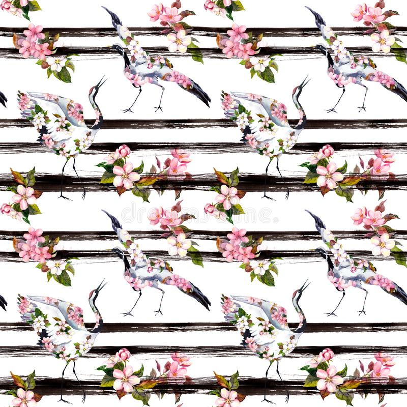 Crane birds with pink spring flowers at monochrome striped background. Seamless floral pattern - cherry blossom, apple royalty free illustration