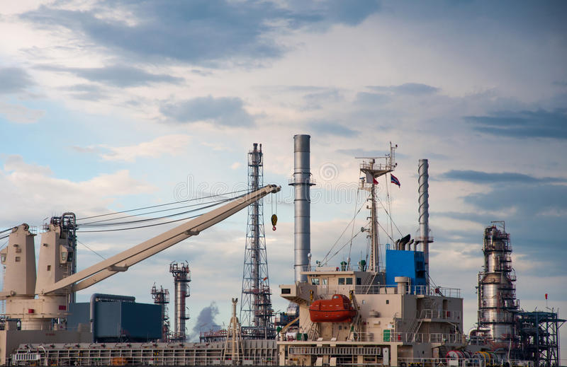 Download Crane On Boat At Oil Refinery Factory In Thailand Stock Image - Image: 32147999
