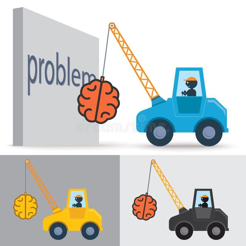 Crane brain. Drive crane , Idea , success , solve proplem vector illustration