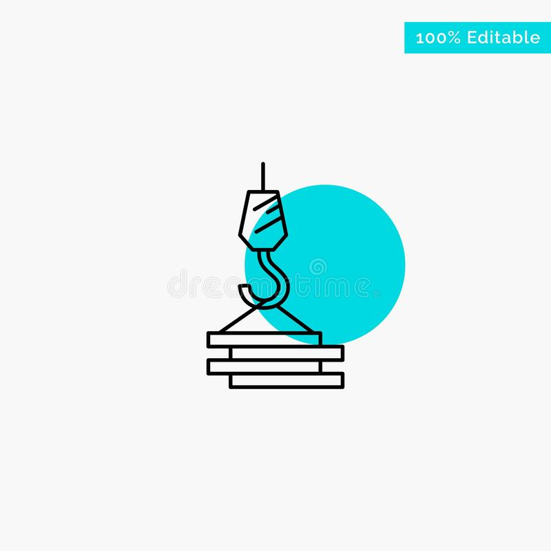 Crane, Building, Construction, Harbor, Hook turquoise highlight circle point Vector icon vector illustration