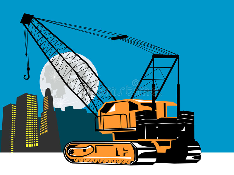 Crane with buildings stock illustration