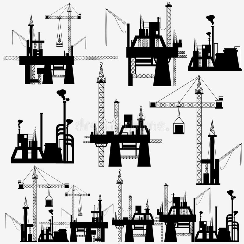 Crane in Constrauction Site. Illustration of set of crane in construction site on isolated background stock illustration