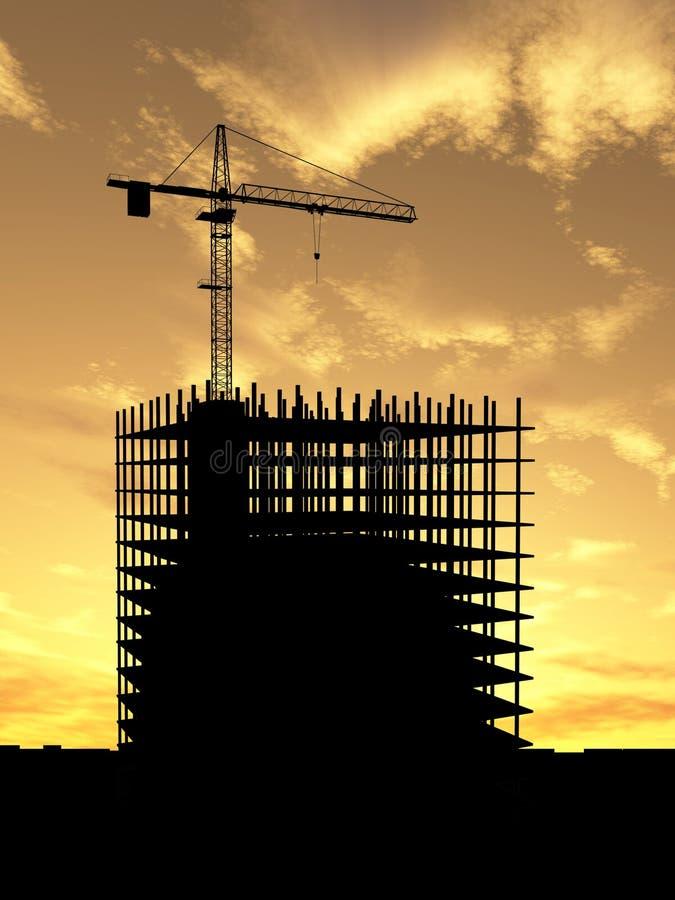 Crane construction. Crane build construction over sunset vector illustration