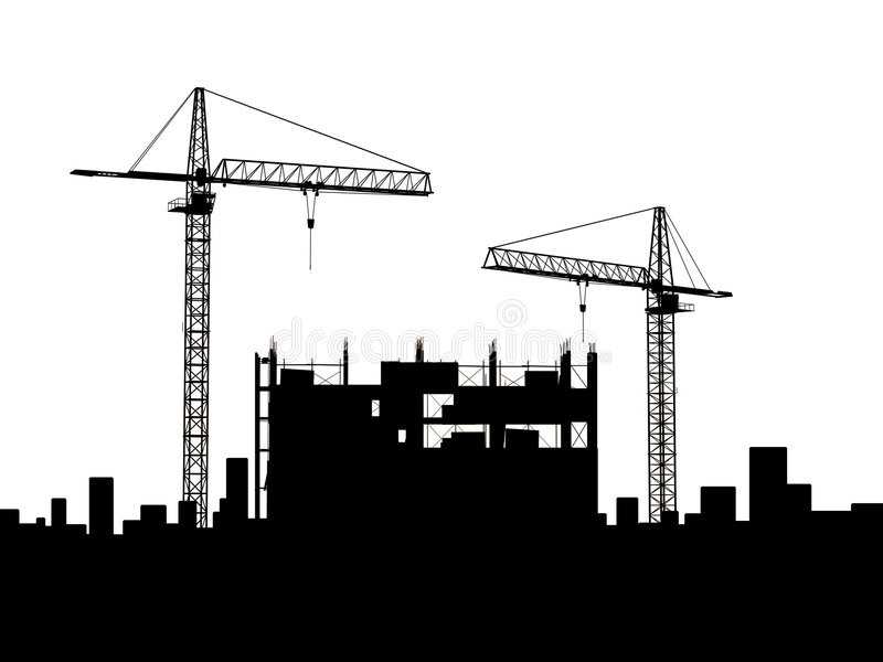 Crane construction. Two cranes build construction over white (no royalty free illustration