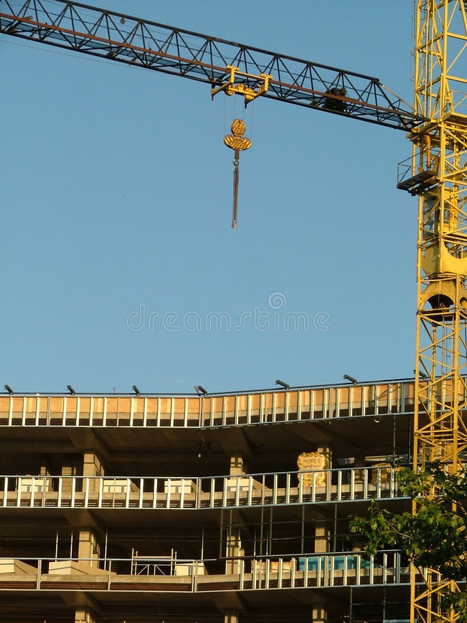 Download Crane on construction site stock image. Image of aerial - 178405