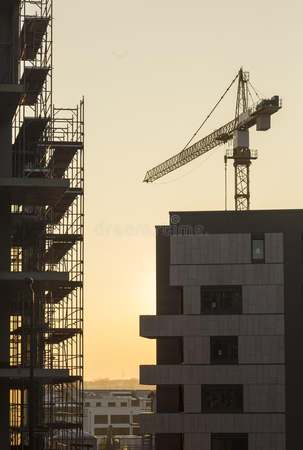 Crane on construction site royalty free stock photos