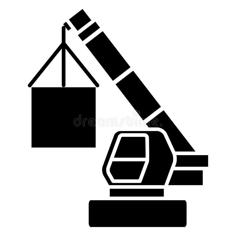 Crane el icono de la logística del cargo, ejemplo del vector, muestra negra en fondo aislado libre illustration