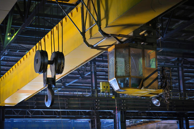 Crane gantry in steel plant. Factory stock photos