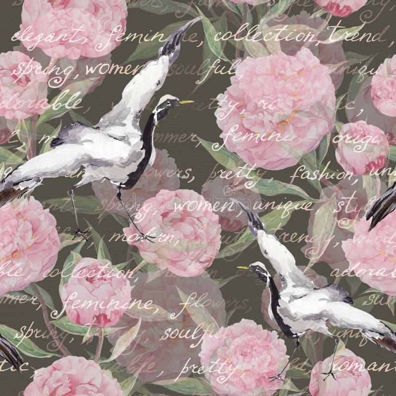 Crane gli uccelli, i fiori della peonia, testo scritto della mano Reticolo senza giunte floreale watercolor royalty illustrazione gratis