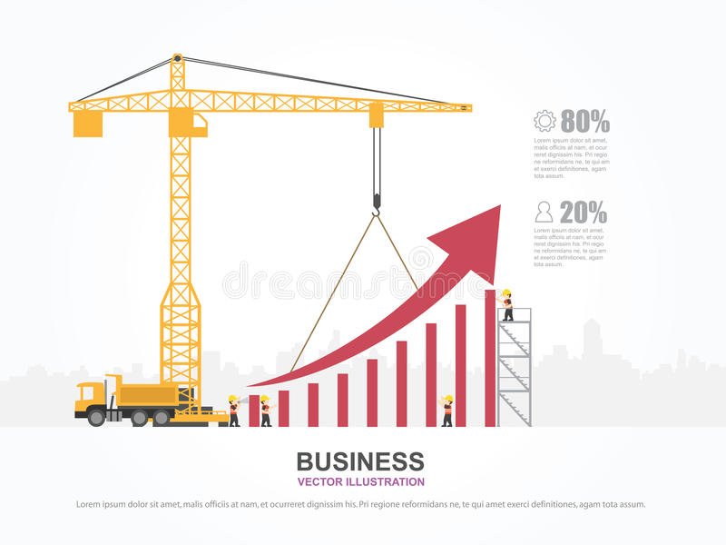 Crane and graph building. stock vector. Illustration of finance ...