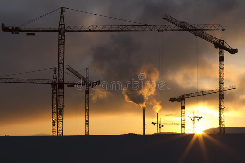 Big construction site with crane group stock photography