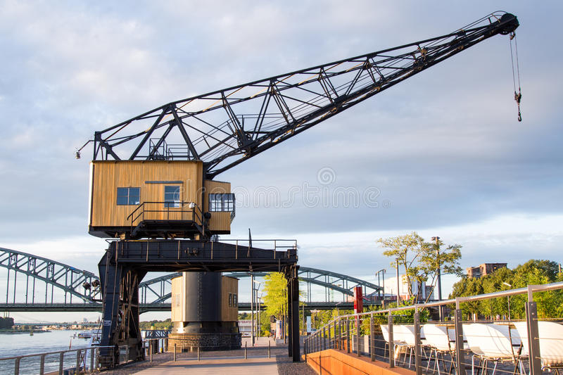 Crane in a harbour stock image