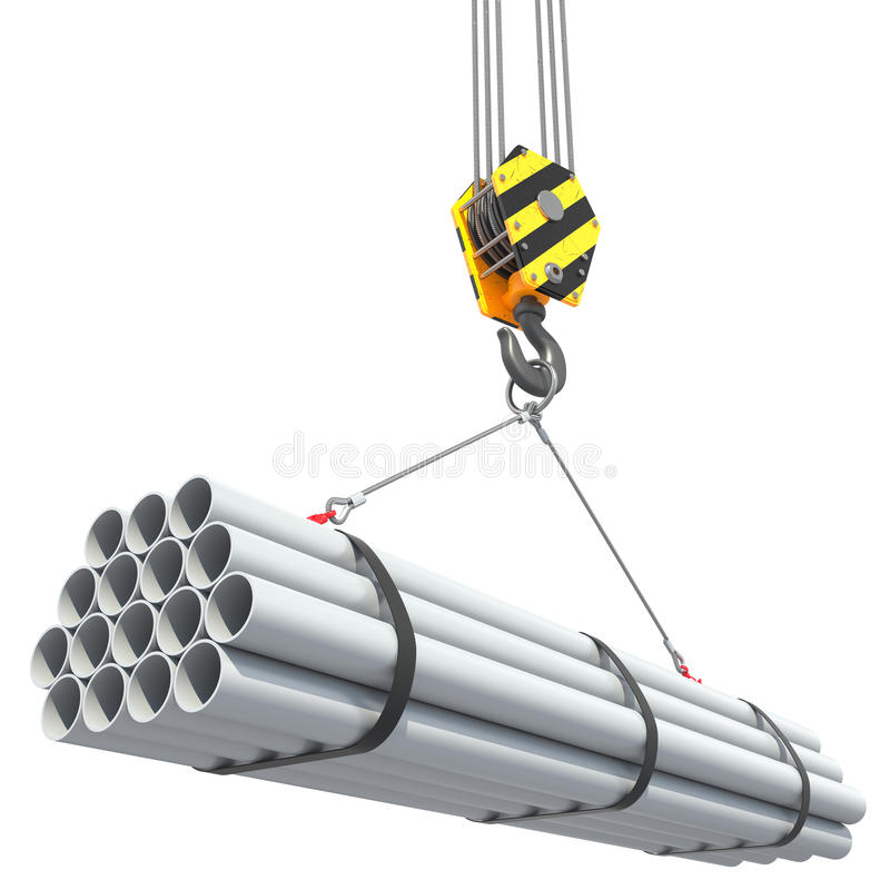 Crane hook lifts group of pipes. royalty free illustration