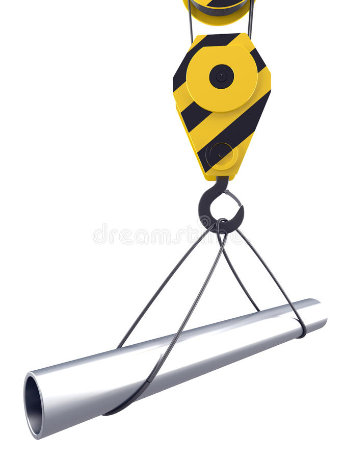 Free Crane Hook Lifts Up One Pipe Stock Photo - 22828250