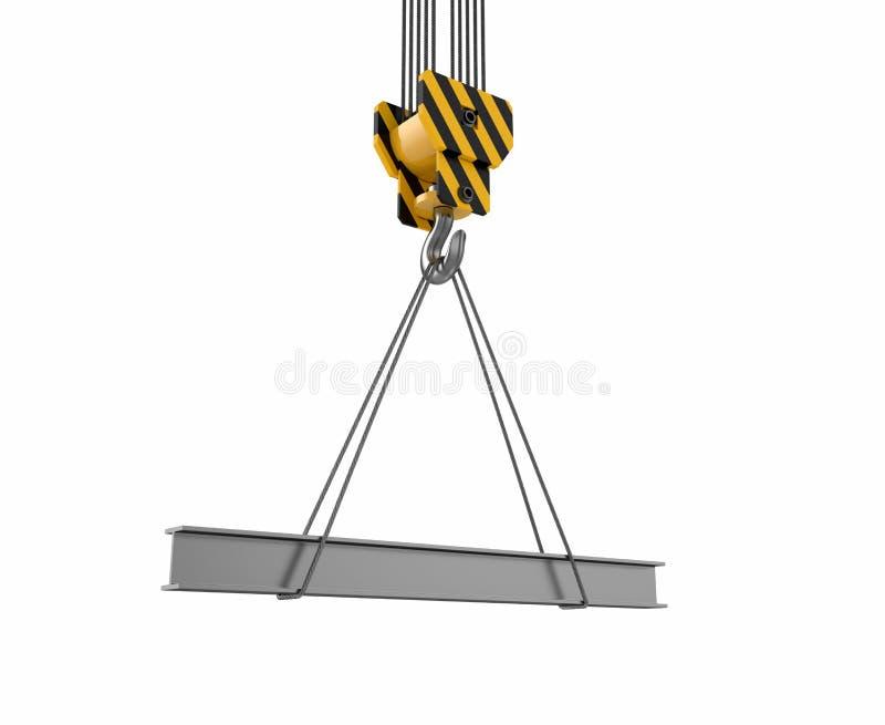 Crane hook with rail. 3d illustration of crane hook with rail on white vector illustration