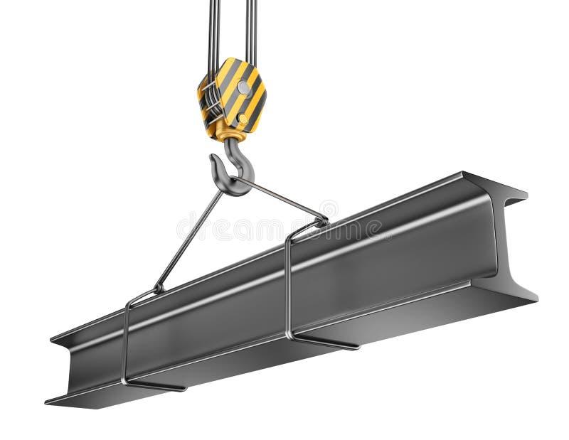 Crane hook with steel girder 3D. royalty free illustration