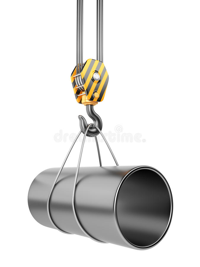 Download Crane Hook  With Steel Pipe 3D. Isolated Stock Illustration - Image: 25852491