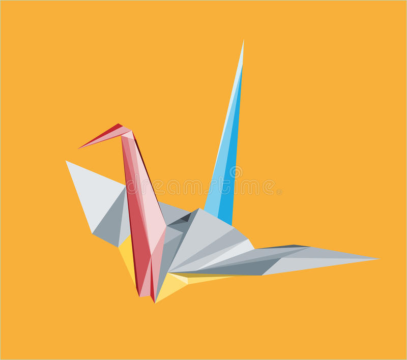 Crane illustration with triangles. Colored crane illustration with triangles royalty free illustration