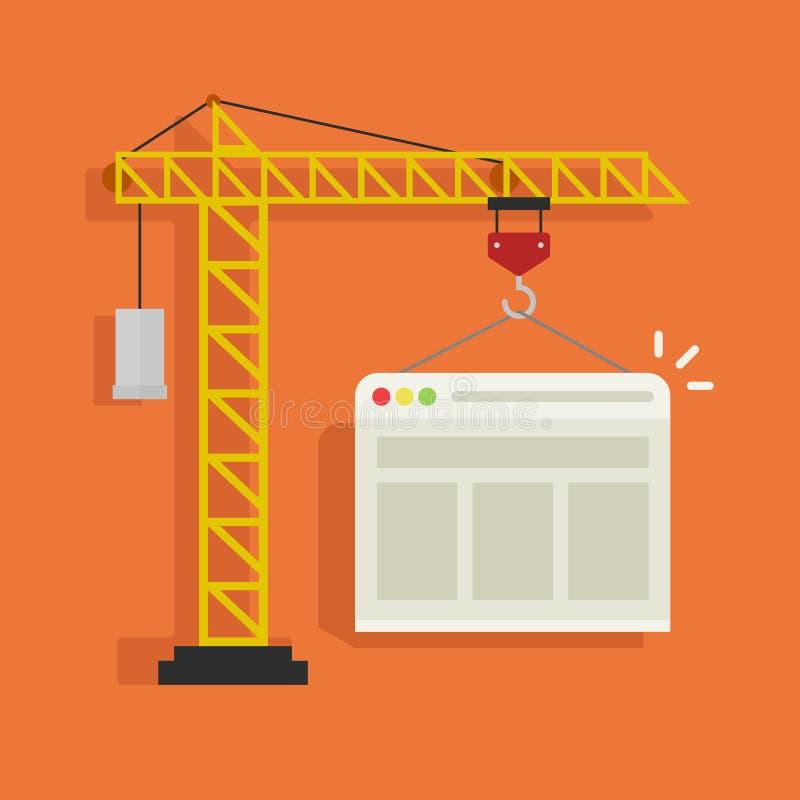 Crane a ilustração do vetor do Web site da construção, conceito de tornar-se do página da web ilustração do vetor