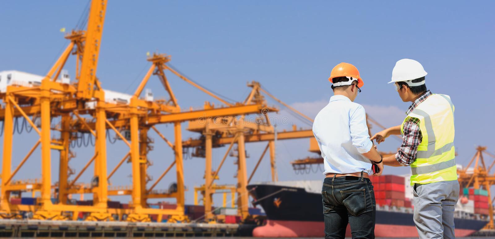 Crane inspection engineers royalty free stock photo