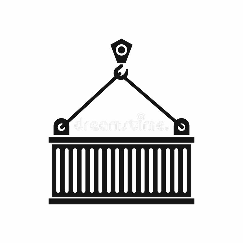 Crane with load icon, simple style. Crane with load icon in simple style isolated on white background. Weight symbol vector illustration