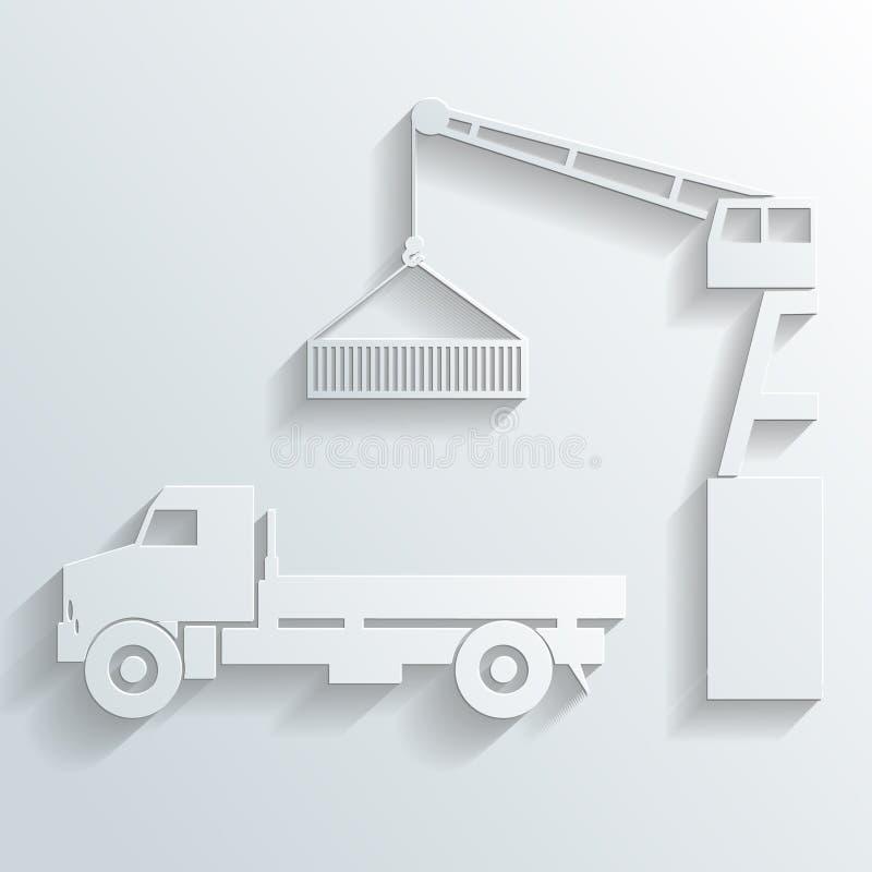 Download Crane Loading Onto Truck Vector Stock Vector - Image: 34095143