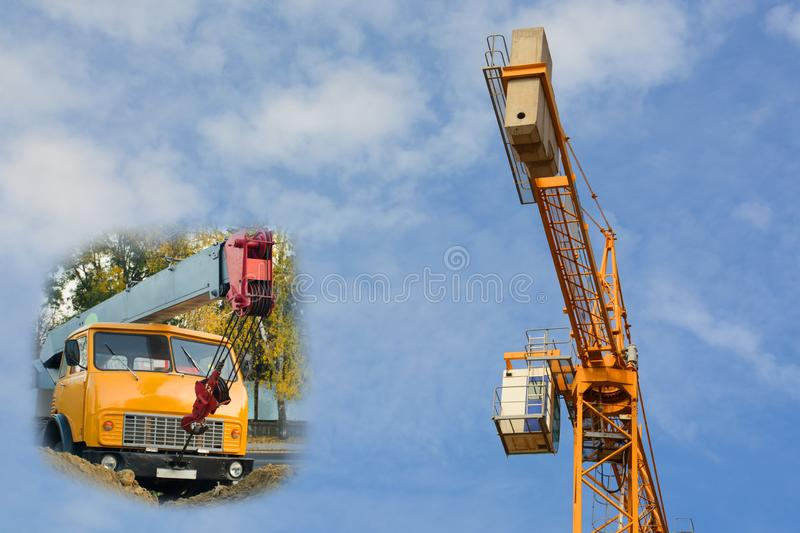 Crane machine in the sand - construction works on the street. Construction tower crane against the sky - collage. Crane machine in the sand. Construction works stock photo