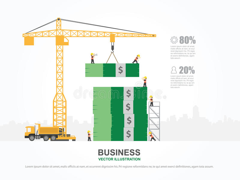 Crane and money building. stock vector. Illustration of advertising ...