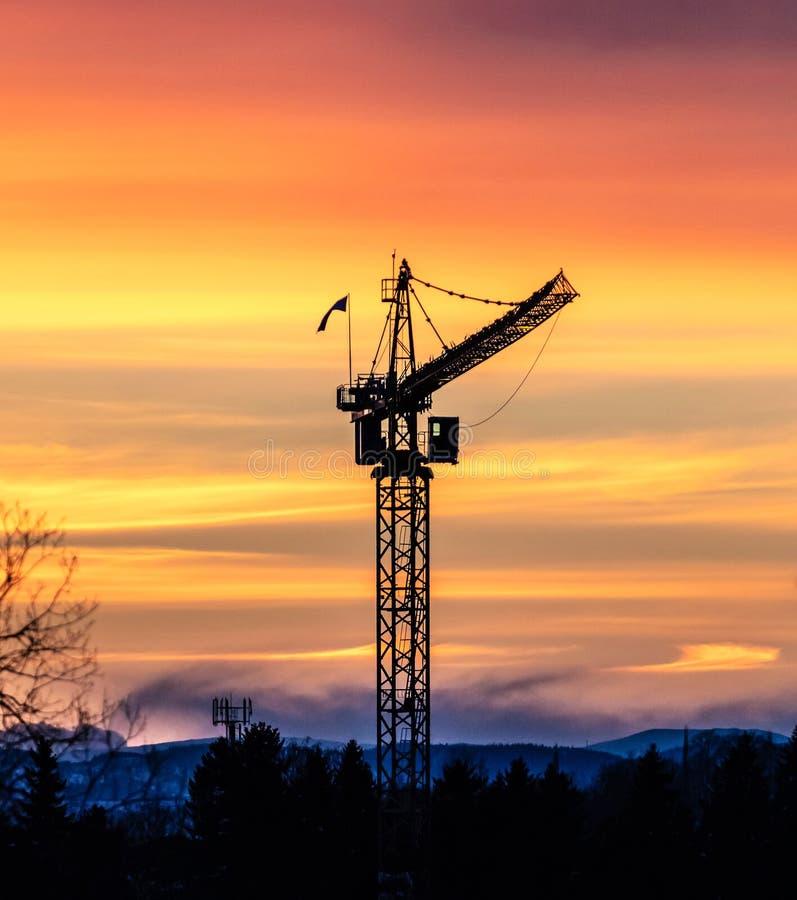 Crane mot dramatiska solnedgång royaltyfria bilder