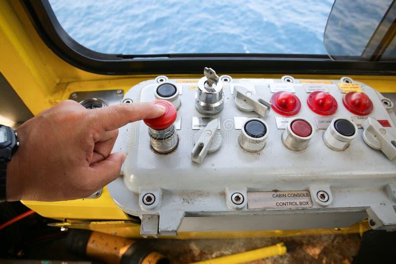 Crane operation cabin for control all equipment of crane. Crane operator control all function of crane inside stock photos