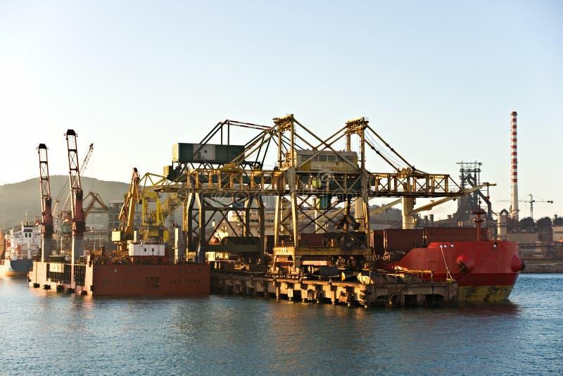 Crane in Piombino, Italy. stock image