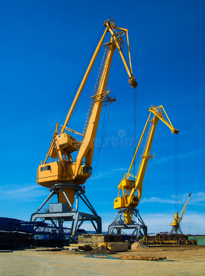 Crane in port. Cargo Cranes in river port stock photography
