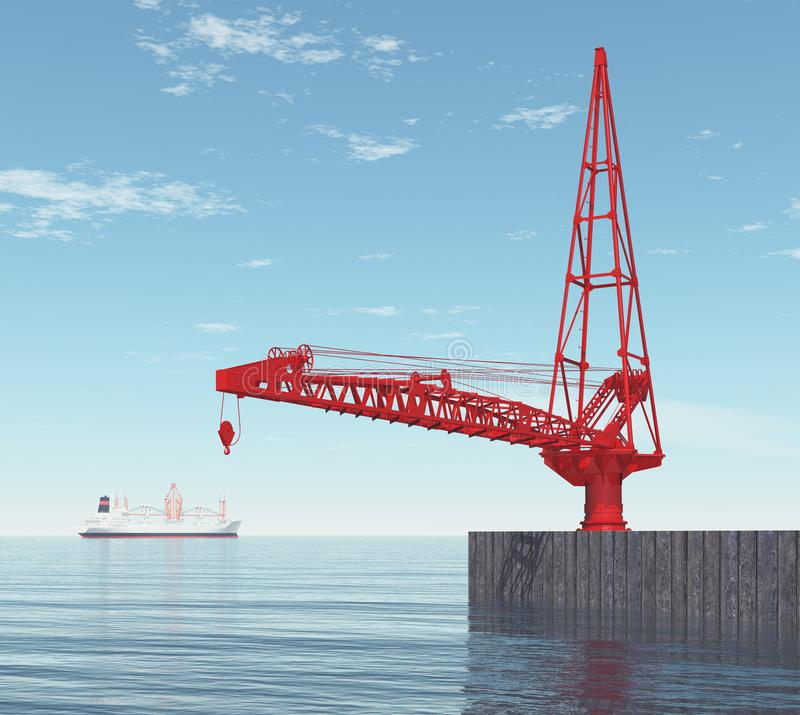Crane on a port dock. Computer generated 3D illustration with a crane on a port dock stock illustration