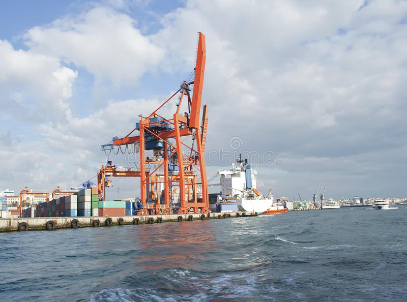 Crane in the port, raw stock images