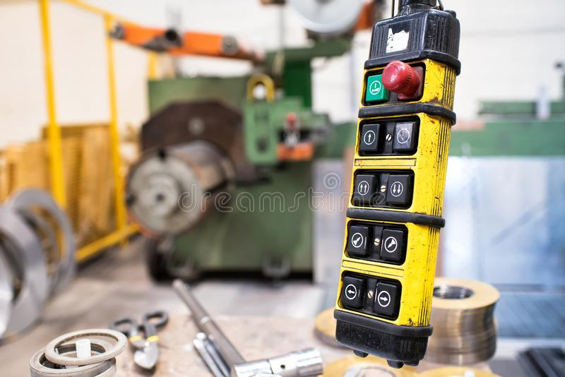 Crane remote control buttons stock images