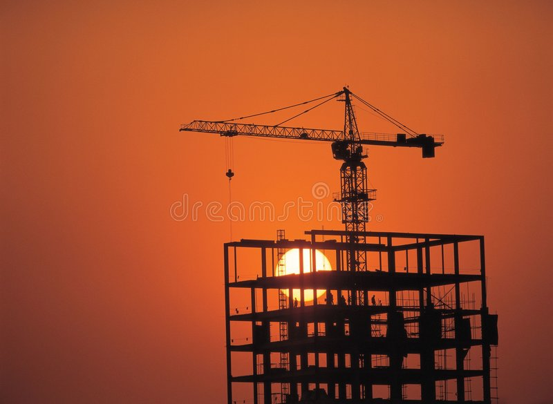 Download Crane And Sun Royalty Free Stock Images - Image: 943809