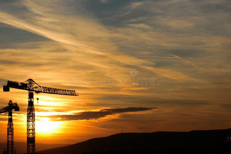 Download Crane in sunset stock image. Image of business, construction - 11701767