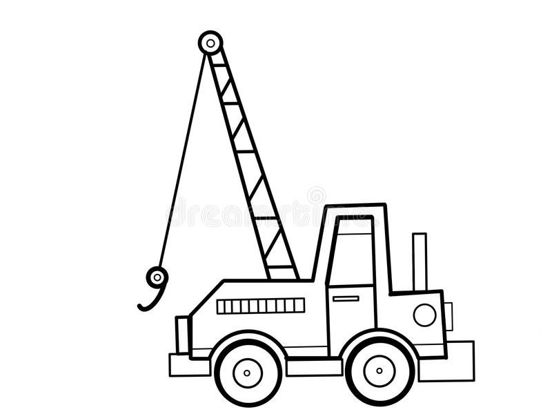 Crane Tractor Kids Educational Coloring Pages Stock Illustration ...