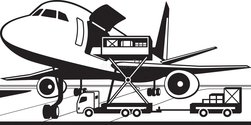 Crane truck loading cargo airplane. Vector illustration royalty free illustration