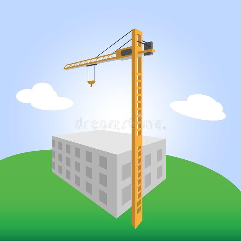 Crane Vector Color Illustration stock foto's