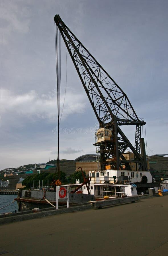 Crane Vessel auf Ufergegend, Wellington, Neuseeland stockbild